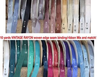 Vintage HUG SNUG Woven edge rayon Ribbon, seam binding, Mix and match 10 YARDS