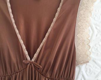 Sweet chocolate brown nightgown slip 70s nylon lace nightie slipdress
