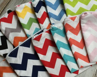 Chevron (Optional Personalization) Reusable Sandwich or Snack Bags with Zipper Closure
