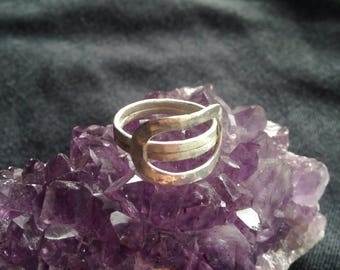 Oblong Oval Ring - Hammered and Brushed Metal Sterling Silver Ring