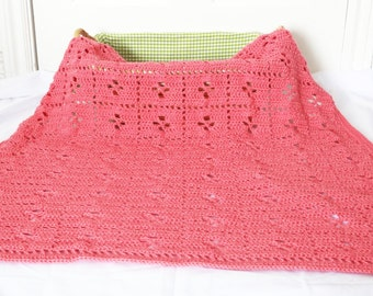 Sale Crochet Baby Blanket - 25% Off Sale - Crochet Pink Lacy Blanket for Baby or Toddler - Ready to Ship