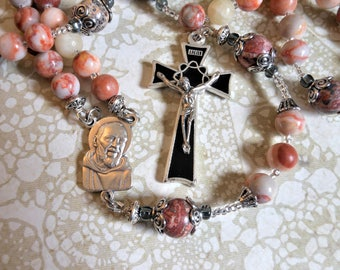 St. Padre Pio Rosary-Catholic Five Decade Traditional Rosary-By Lily of Peace on Etsy