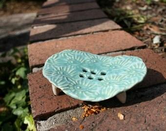 Robin's  Egg soap dish, handmade ceramic soap dish