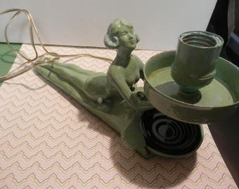 "Art Deco 1930""s Nude Lady Lamp Ash Tray Green Patina Works"