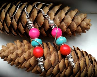 Gipsy howlite earrings, pink red and turquoise howlite, handmade earrings, old fashion style, surf earrings, boho earrings, chic earrings