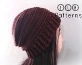Crochet pattern, slochy beanie pattern, crochet hat pattern, crochet unisex hat, Chocolate Slouchy hat, adult size, Pattern No. 36