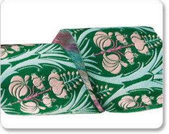 "SALE--AMY BUTLER 2"" ribbon--Green Tulip Tree--price is per yard"