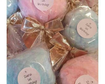 100 Cotton Candy wedding favors bulk order no label with matching satin ribbon