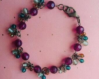 Purple & Teal Beaded Bracelet