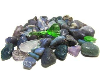 57 Bluestone Bead Bonanza, Leland Bluestones, Glass Stones, Green Seaglass, Green Beach Glass, Undrilled, Craft Stones, DIY, Mosaic, LM