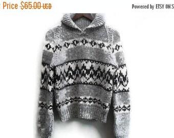 SALE Cowichan Sweater Handknit Brown Vintage S M
