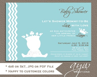 prince baby shower invitation chevron teal gray prince baby shower invitations chevron invitation printable baby shower