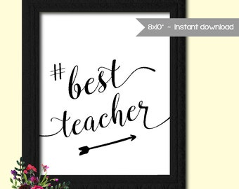Hashtag Wall Art Best Teacher Wall Art Printable Hashtag Sign Wall Art Inspirational Words Wall Art Gift for Teacher - Instant Download