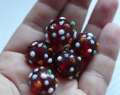 Large red lamp work glass beads
