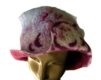 Unusual Felted Hat in Raspberry and Purple Merino Wool - Feminine Fedora Shaped Woman's Hat - Wet Felted Hat