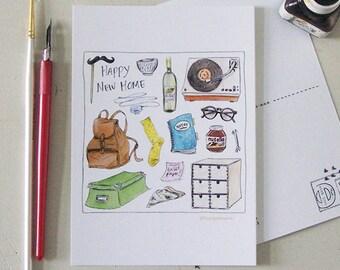 new home greeting card / new student room / dorm rooom / student gift / student home / happy new home/ apartment / illustration/interior