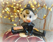 vintage crazy quilt pin cushion with mid century elf decoration