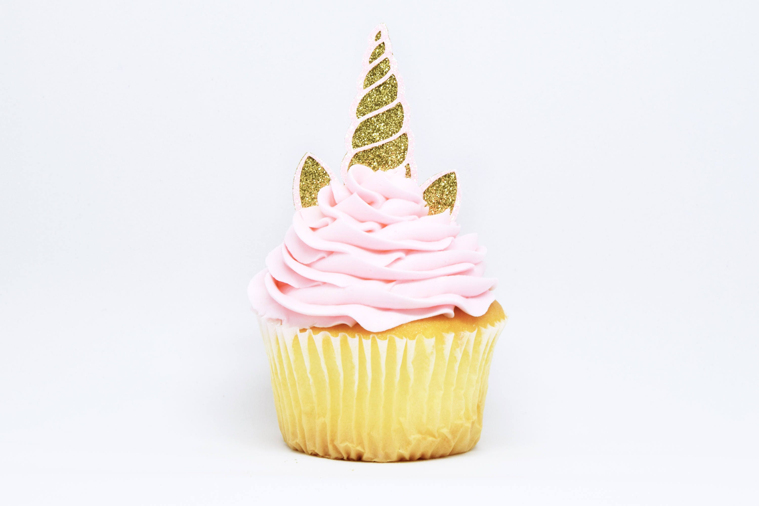 Unicorn Horn Ears Cupcake Toppers Gold Light Pink
