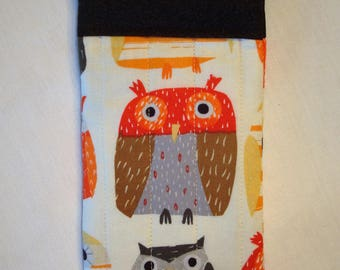 Owl Print Quilted Sunglasses Case