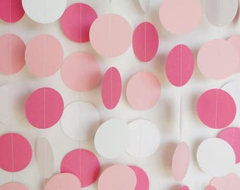 Pink and White Garland, Pink Baby Shower Decor, Pink Wedding Decor, Girl's Birthday Decoration, 1st Birthday Party, 10 ft. long
