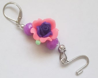 pink and purple Rose portuguese knitting pin