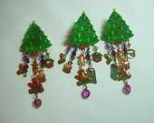 RESERVED for Jennifer:  Watta Christmas Tree Dangle Earrings and Brooch