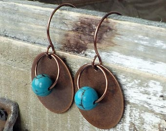 Turquoise Earrings, Copper Earrings, Sundance Style, Boho Jewelry, Minimalist, Blue, Green, Artisan, Modern, Everyday, Southwestern, Gift