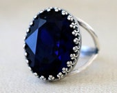 Dark Indigo | Crown Ring | Swarovski Crystal | Adjustable | Antique Silver | Victorian Crown | Bridal Jewelry | Wedding Gift | Gift For Her