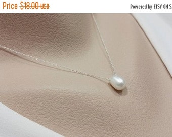 ON-SALE Single Freshwater Pearl and Sterling Silver Necklace - Bridesmaid Gift, Wedding Jewelry, Birthday Gift, June Birthstone