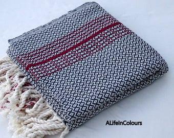 Black and white colour Turkish diamond herringbone patterned soft cotton bath towel, beach towel, baby's blanket.