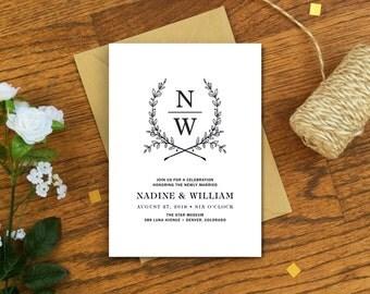 Wedding Reception Card - Monogram Wedding Reception Invitation - Monogram Wreath Invitation - Printable DIY