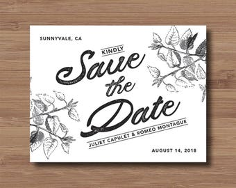 Nature Save the Date - Botanical Save the Date Magnets or Save the Date Card - Floral Save the Date Cards