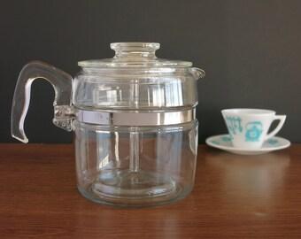 Vintage 6 cup Pyrex Percolator Coffee Pot -  Pyrex Flameware Coffee Pot - Rangetop Ware - Pyrex Percolator - Mid Century Pyrex Coffeemaker