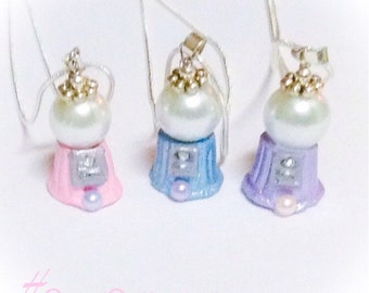 Gumball Machine Necklace Old Style Pastel Pearl Kawaii Gum Ball Pendant On Silver Plated Chain