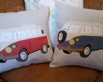 "VW Camper Van Cushion Pillow Blue Cream Bus Caravan 18""x18"" 45x45cm Bye Brytshi"