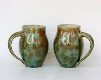 Pair of Emerald Crystalline Mugs