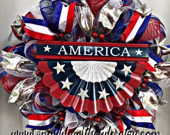 One available - Patriotic Wreath - Summer Wreath - Mesh Wreath - Memorial Day - Independence Day - Red White and Blue - Uncle Sam - America