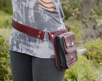 red burgundy and black leather pocket belt