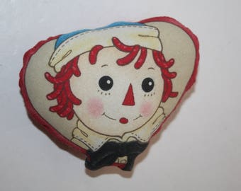 Vintage Fabric Stuffed Raggedy Andy Pin/Raggedy Ann-Museum Pin/Decorative Raggedy Andy