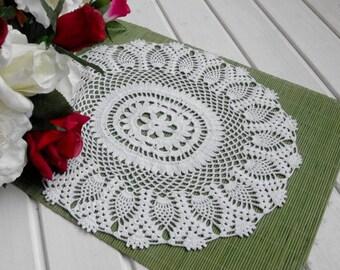 Oval crochet doily Crochet table runner White pineapple runner Large table runner Table decor Crocheted runner Crochet lace runner 352