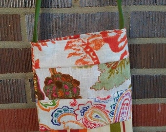 Upcycled Upholstery Fabric Patchwork Cross Body Hippie Boho Purse
