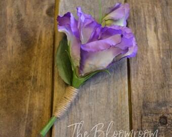 Silk buttonhole / Rustic buttonhole / Men's wedding boutonniere / Groom / Rustic boutonniere / Wedding buttonhole / Garden boutonniere