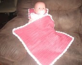 Mauve and Pink Baby Doll Blanket and Pillow Set
