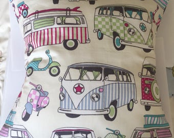 Handmade Camper Van Scooter Cushion Cover,  14 inch cotton pillow cover