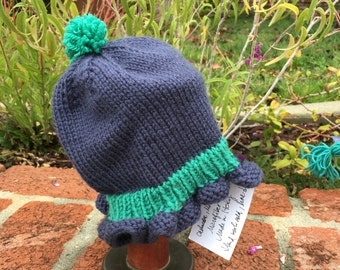 Hand Knit Baby Girl Ruffles Beanie Hat Indigo and Jade Green 6-12 mos.