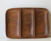 Large Mid Century Modern Exotic Wood Tray, Vintage Snack Tray, Serving Tray