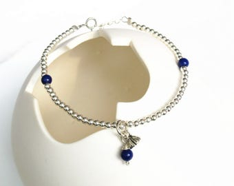 "100% natural gemstone lapis lazuli 925 sterling silver beads bracelet 6.3"" to 7.8"" Seedpod of the lotus handmade jewelry"