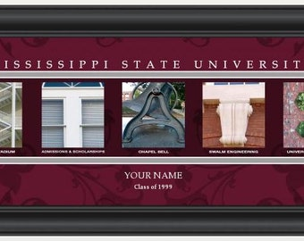 PERSONALIZED & FRAMED NCAA Mississippi State Bulldogs Letter Art Sports Prints