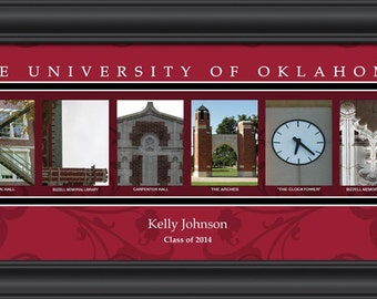PERSONALIZED & FRAMED NCAA Oklahoma Sooners Letter Art Sports Prints