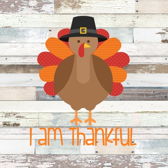 INSTANT DOWNLOAD I am Thankful Turkey Thanksgiving Printable DIY Iron On to Tee T-Shirt Shirt Transfer - Digital File